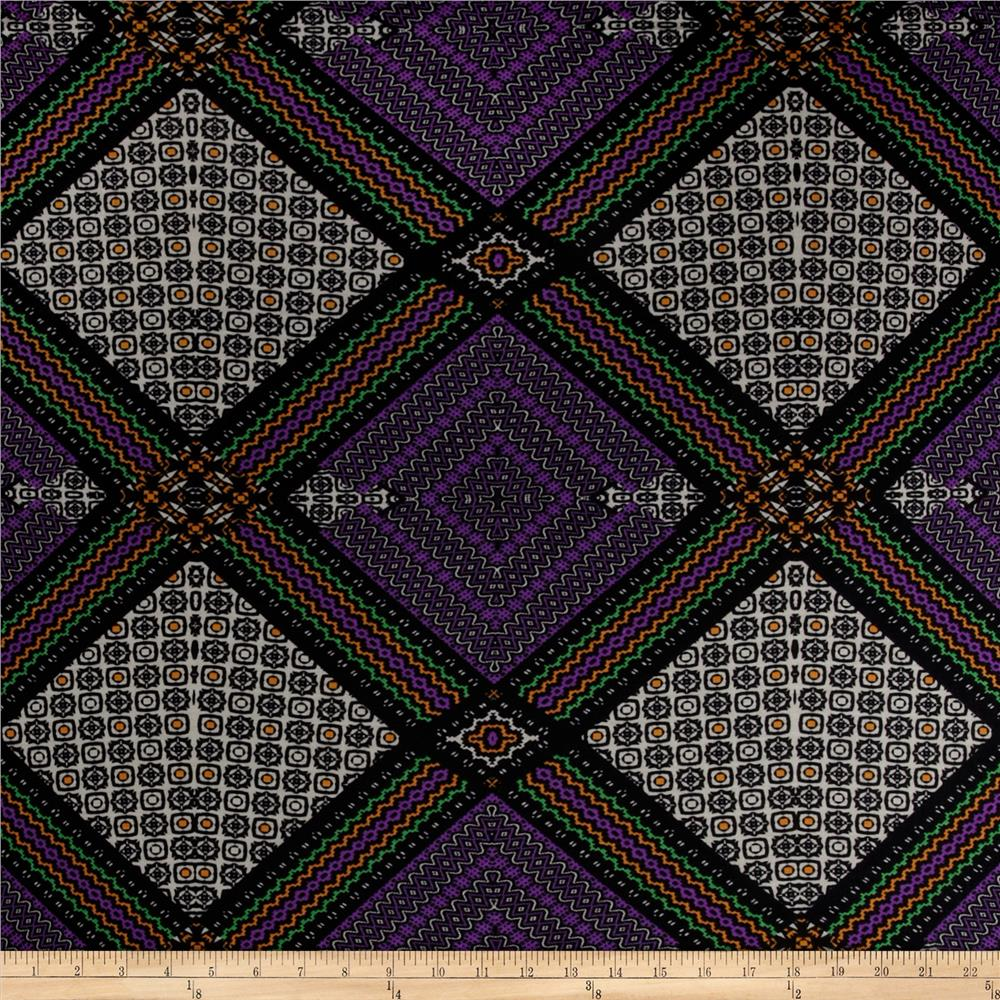 Stretch Soft Jersey Knit Tile Black/Purple/Green/Gold