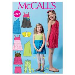 McCall's Children's/Girls' Shrug Top Dresses Shorts and Leggings