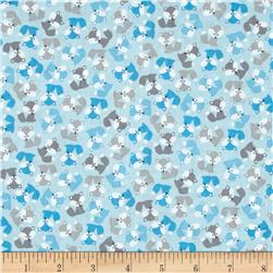 Robert Kaufman Urban Zoology Mini Foxes Blue
