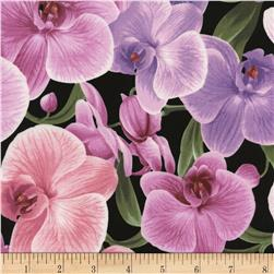 Timeless Treasures Orchids Black