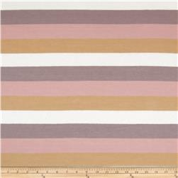Silk Blend Jersey Knit Stripe Honey/Rose