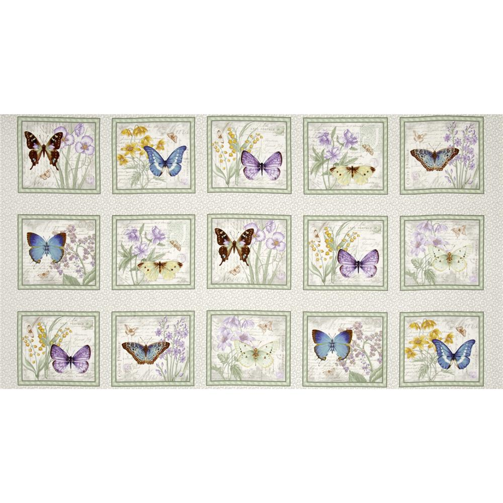 Butterfly Botanical Butterfly 24 In. Panel Grey/Purple