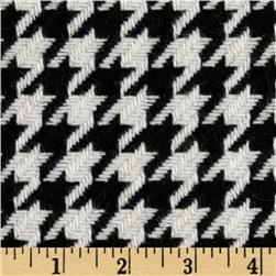 Wool Blend Coating Houndstooth Black