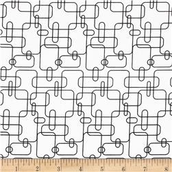 Welcome to My World Geo Squares White/Black Fabric