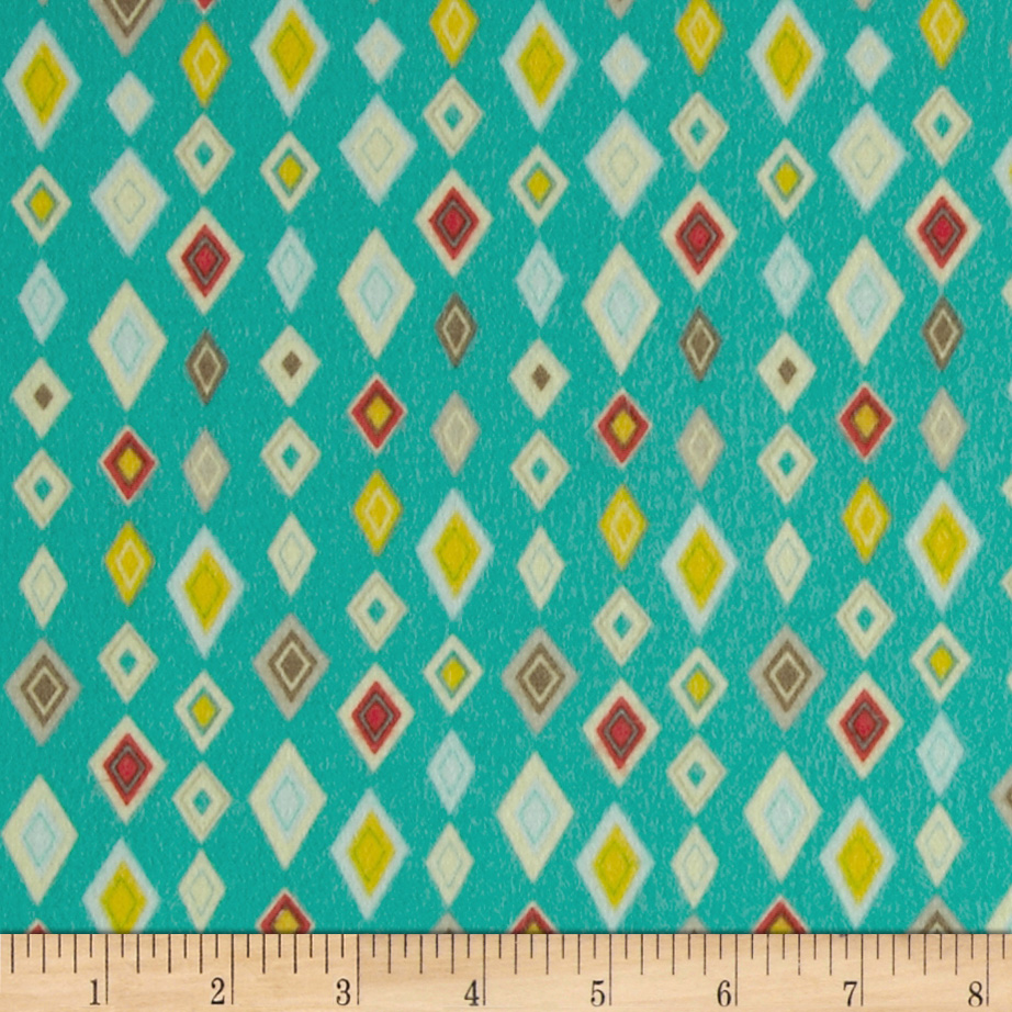 Riley Blake Boy Crazy Flannel Diamonds Teal Fabric