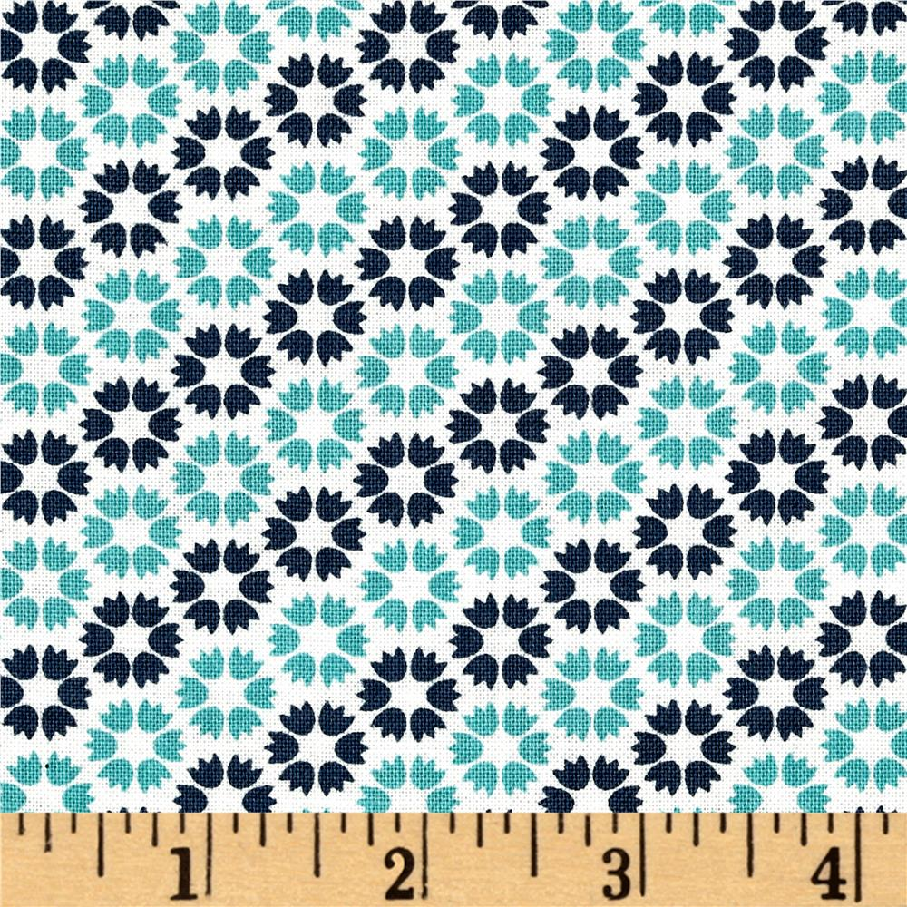 Moda Sunday Supper Table Cloth Teal-American Blue