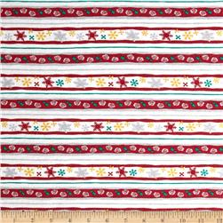 Cotton Jersey Knit Snowflake Stripe Red