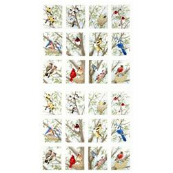 Beautiful Birds Panel Bird Blocks Cream