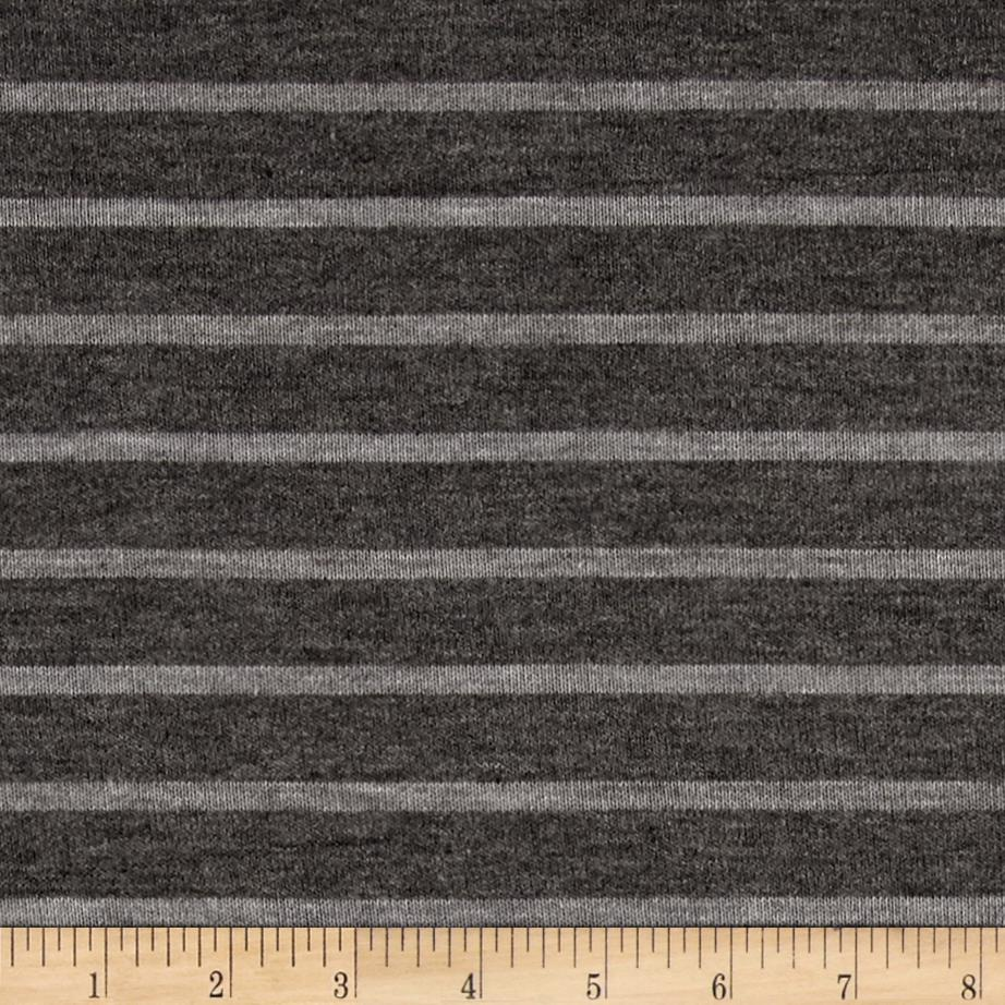 Jersey Knit Light Gray Stripes on Gray