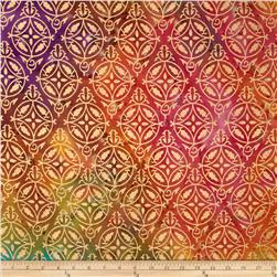 Indian Batik Montego Bay Metallic Medallion Pink/Orange