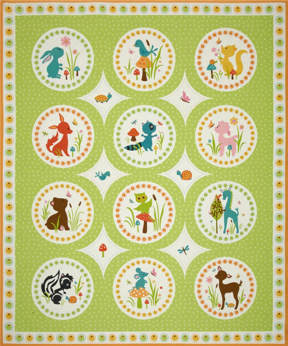 Woodland Tails Panel Green