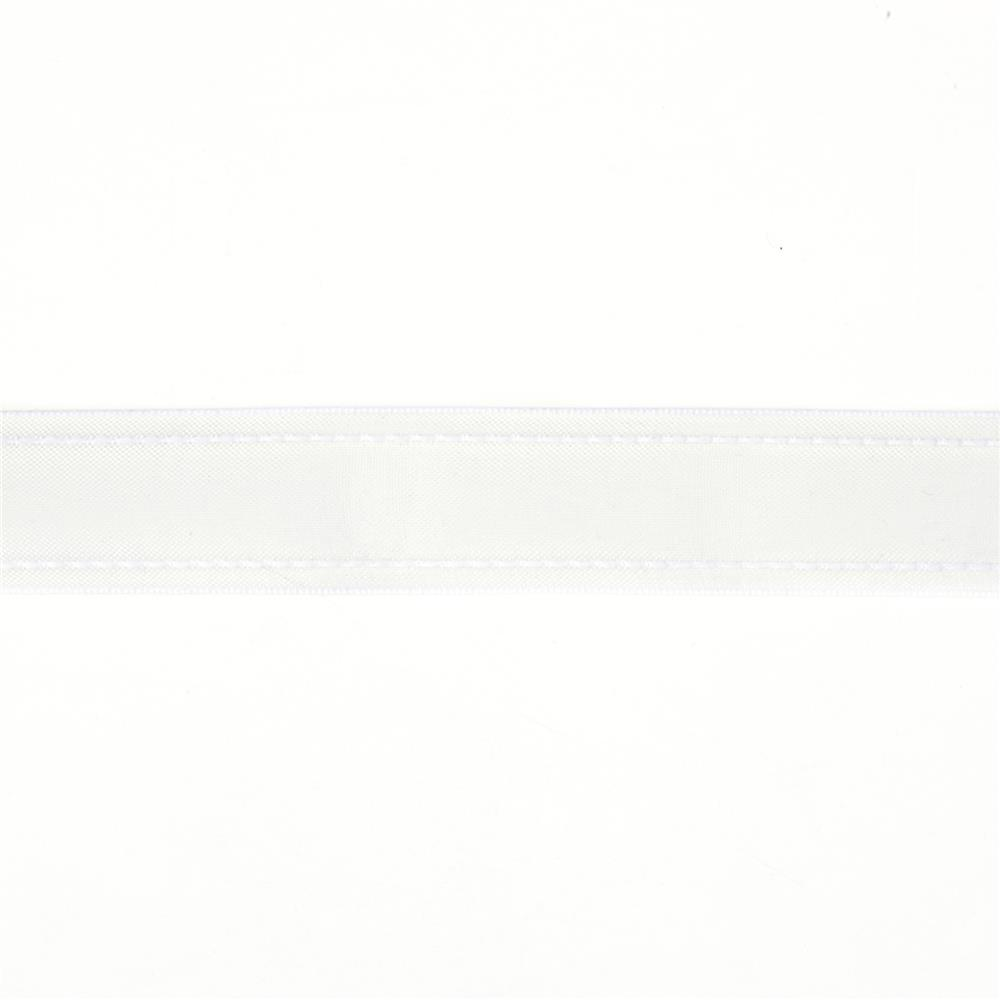 "7/8""  Sheer Stitched Edge Ribbon White"