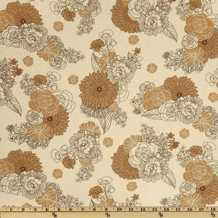 Kaufman Essex Linen Blend La Femme Floral Natural