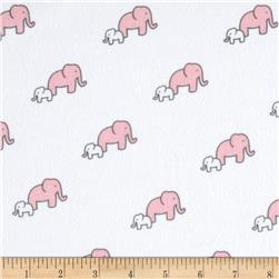Little Safari Flannel Elephants Pink Fabric