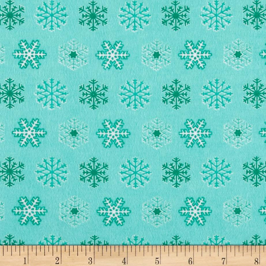 Flannel Tossed Snowflakes Teal