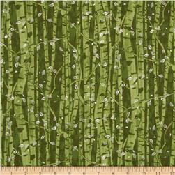 Branching Out Metallic Tree Trunks Moss/Silver Fabric