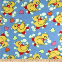 Fleece Print Ducks & Bubbles Blue