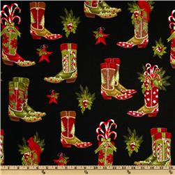Holly Jolly Christmas Boots Black