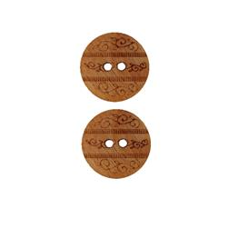 Dill Wooden Button 11/16'' Etched Circle