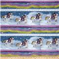 Rainbow Dreams Girl & Horse Stripe Blue