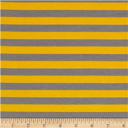 "Riley Blake Cotton Jersey Knit 1/2"" Stripes Gray/Yellow"