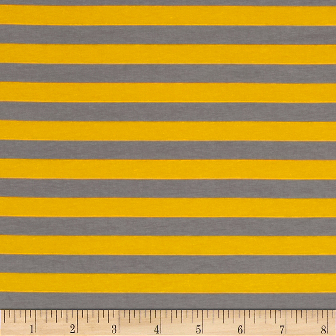 Riley Blake Cotton Jersey Knit 1/2'' Stripes Gray/Yellow Fabric by Christensen in USA
