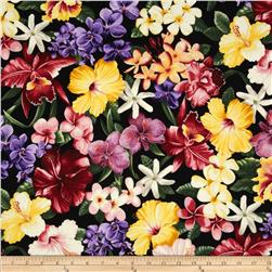 Island Garden Tropical Flowers Black
