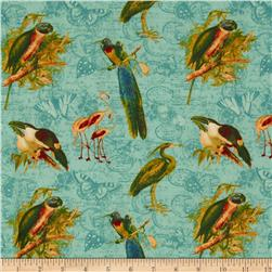 Tropical Travelogue Large Tropical Birds Blue/Multi