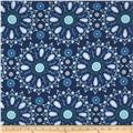 Dena Designs Sunshine Linen Blend Circle Medallion Navy