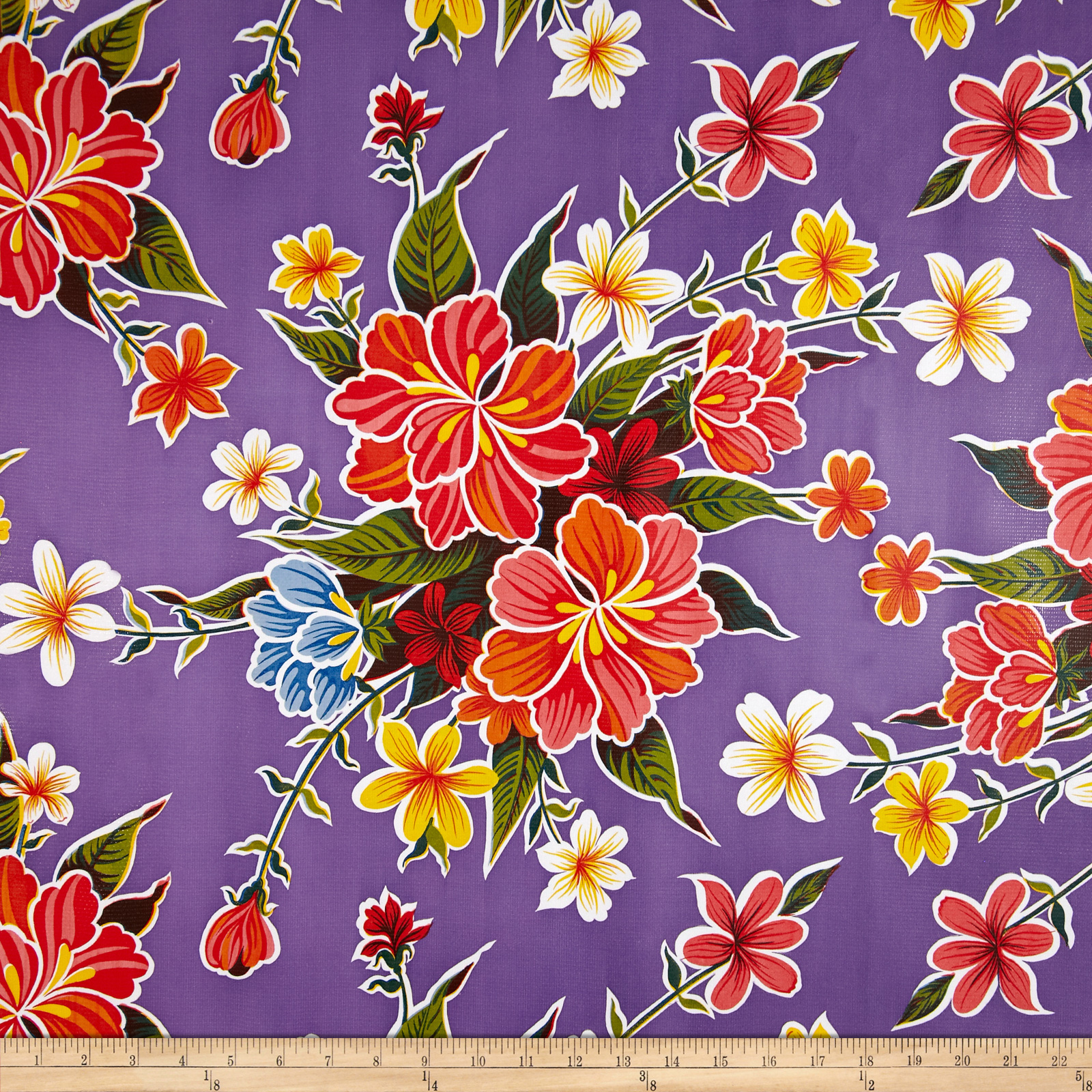 Oil Cloth Hibiscus Dark Purple Fabric