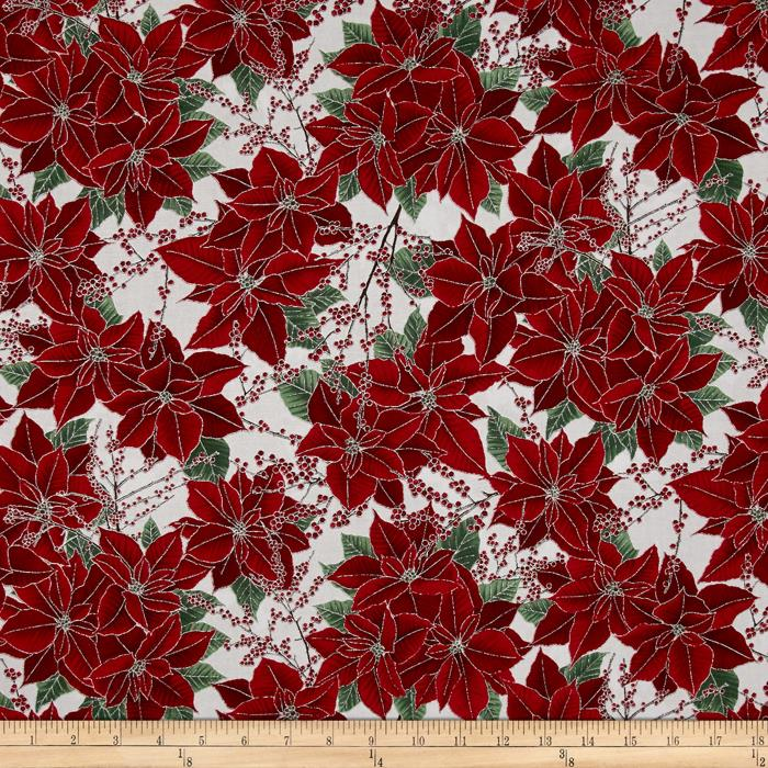 Berries and Blooms Metallic Poinsettias Ice/Silver