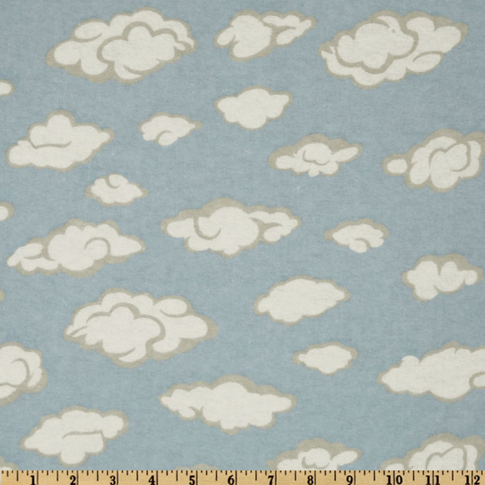 Flannel Clouds Blue Fabric