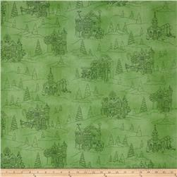 Gingerbread Christmas Toile Soft Green