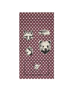 Kokka Canvas Making Cloth Oxford Metallic Animals Panel Purple