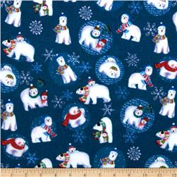 Winter Magic Flannel Polar Bears Navy Blue