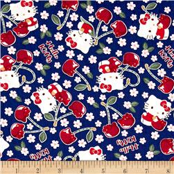Kokka Sanrio Hello Kitty Cherry Land Sheeting Royal