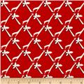 Aunt Grace Ties One on Prints Palm Tree Red/White