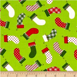 Owl Christmas Tossed Stockings Green