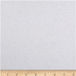 108'' Quilt Backing Flourish White on White Fabric