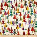 Laurel Burch Enchantment Metallic Christmas Trees Cream