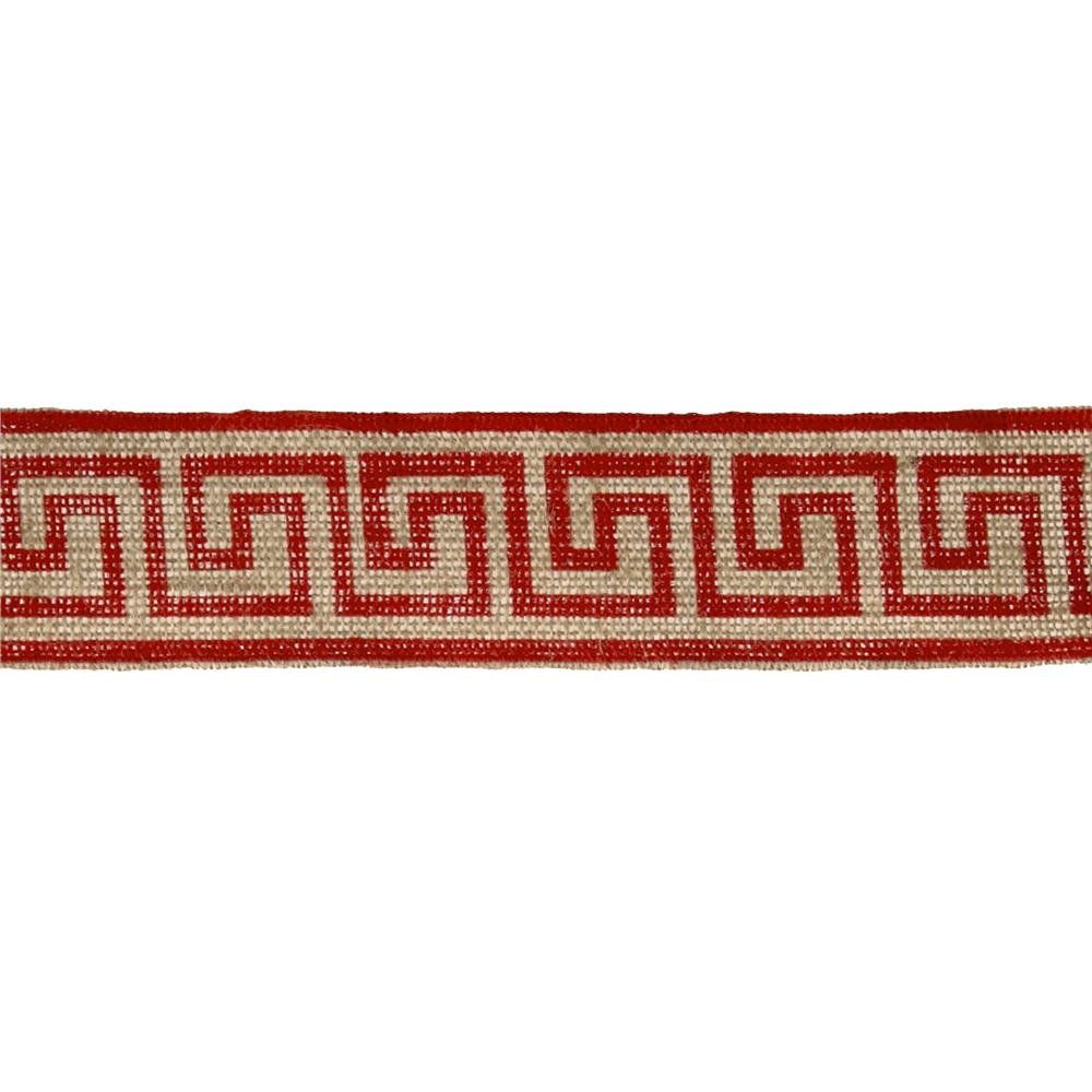 "2 3/8"" Burlap Trim Greek Key Red"