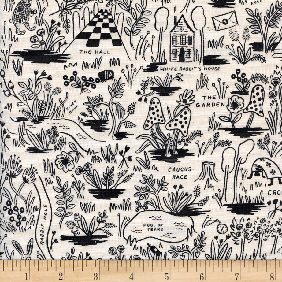 Cotton + Steel Rifle Paper Co. Wonderland Magic Forest Neutral Fabric