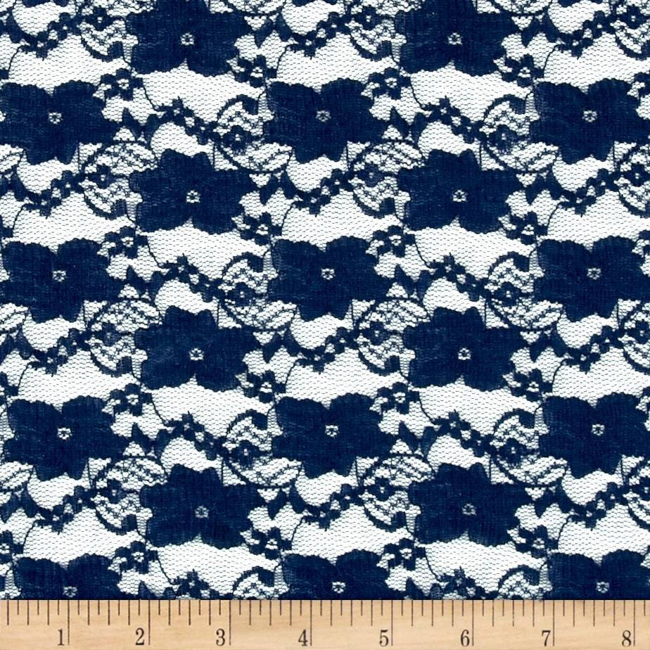 Designer Stretch Lace Floral Navy