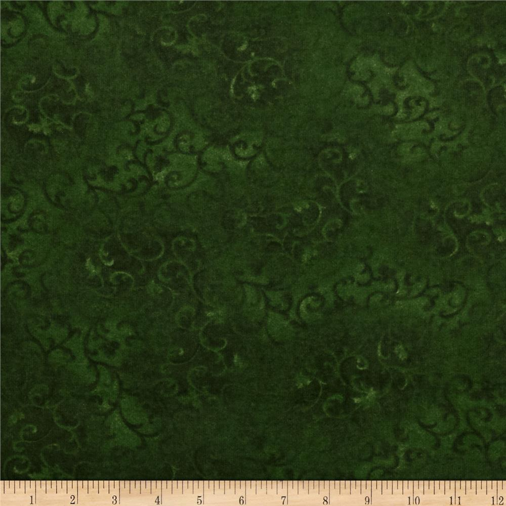 "108"" Wide Essentials Flannel Quilt Backing Scroll Green"
