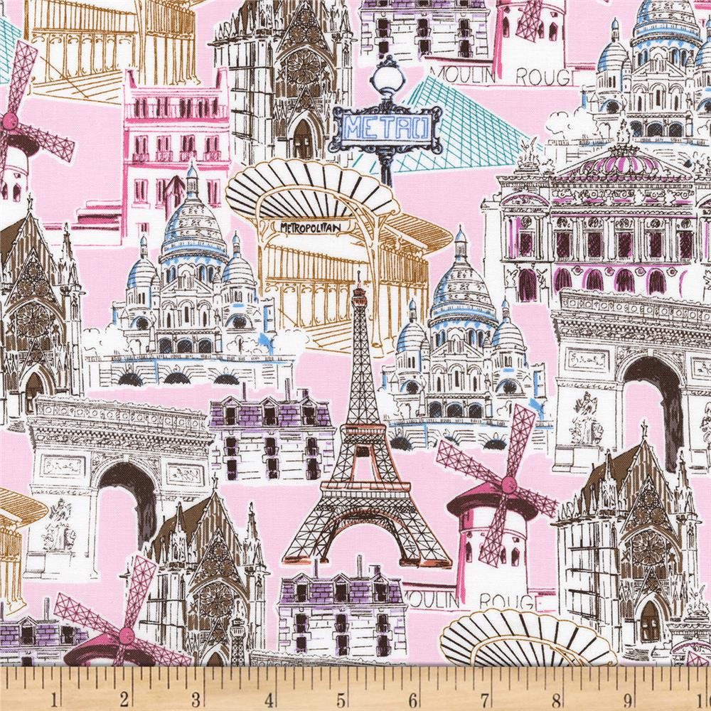 kaufman dream vacation paris collage sweet discount designer fabric. Black Bedroom Furniture Sets. Home Design Ideas