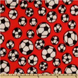Sports Fleece Soccer Balls Red Fabric