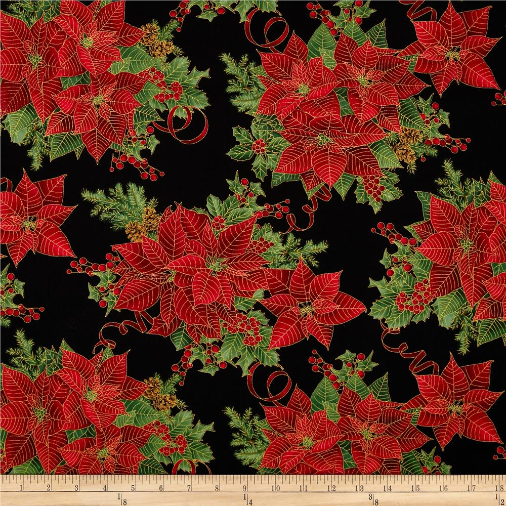 Timeless Treasures Pine & Poinsettia Metallic Allover Poinsettia