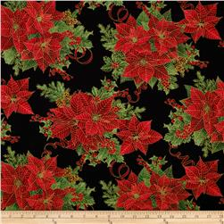 Timeless Treasures Pine & Poinsettia Metallic Allover Poinsettia Black