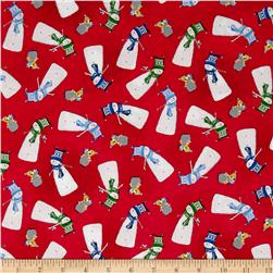 Santa's Little Helpers Snowmen Red