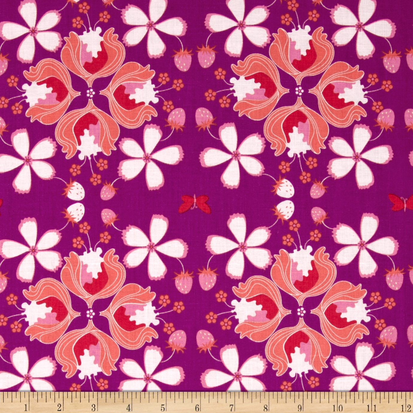 Hot House Flowers Floral Allover Orchid Fabric